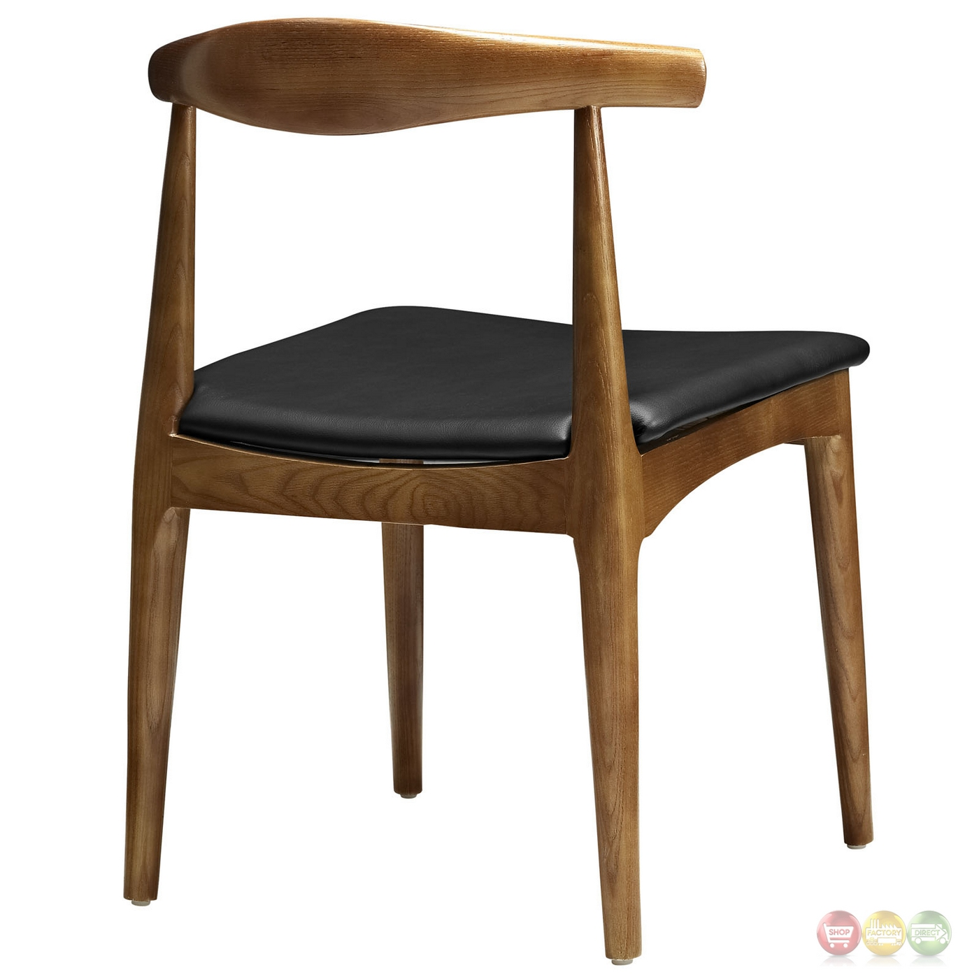 Tracy Mid Century Modern Curved Wood Dining Side Chair W Cushion Black