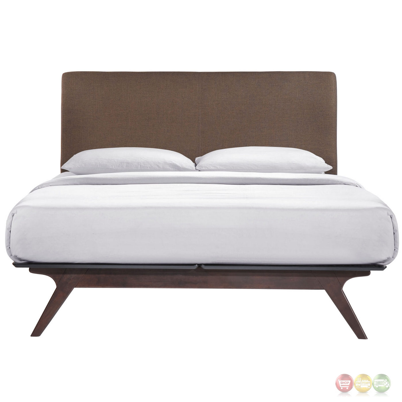 Tracy Mid Century Modern Upholstered Platform Queen Bed