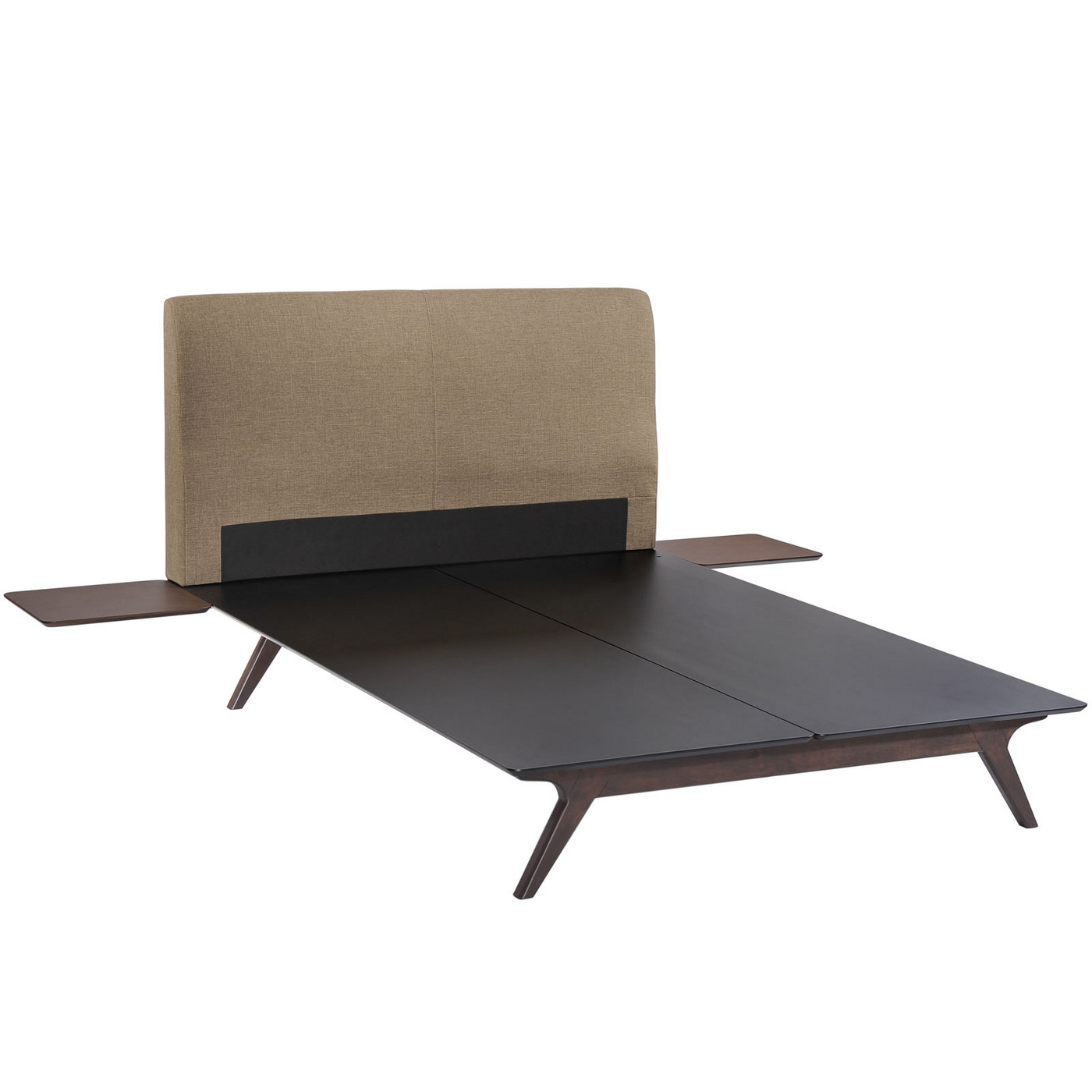 tracy mid century upholstered king platform bed with nightstands cappuccino latte. Black Bedroom Furniture Sets. Home Design Ideas