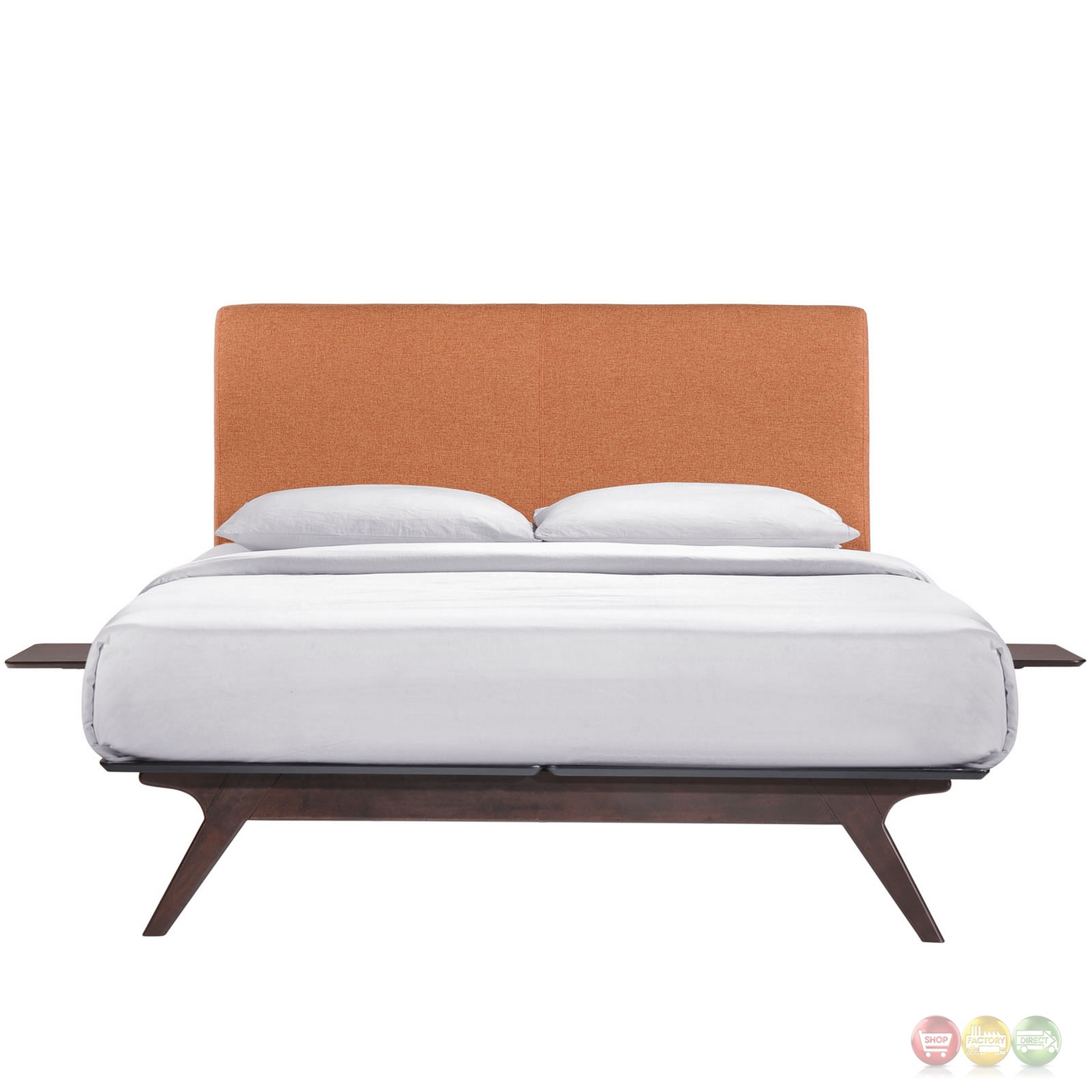 tracy mid century upholstered king platform bed with nightstands cappuccino orange. Black Bedroom Furniture Sets. Home Design Ideas