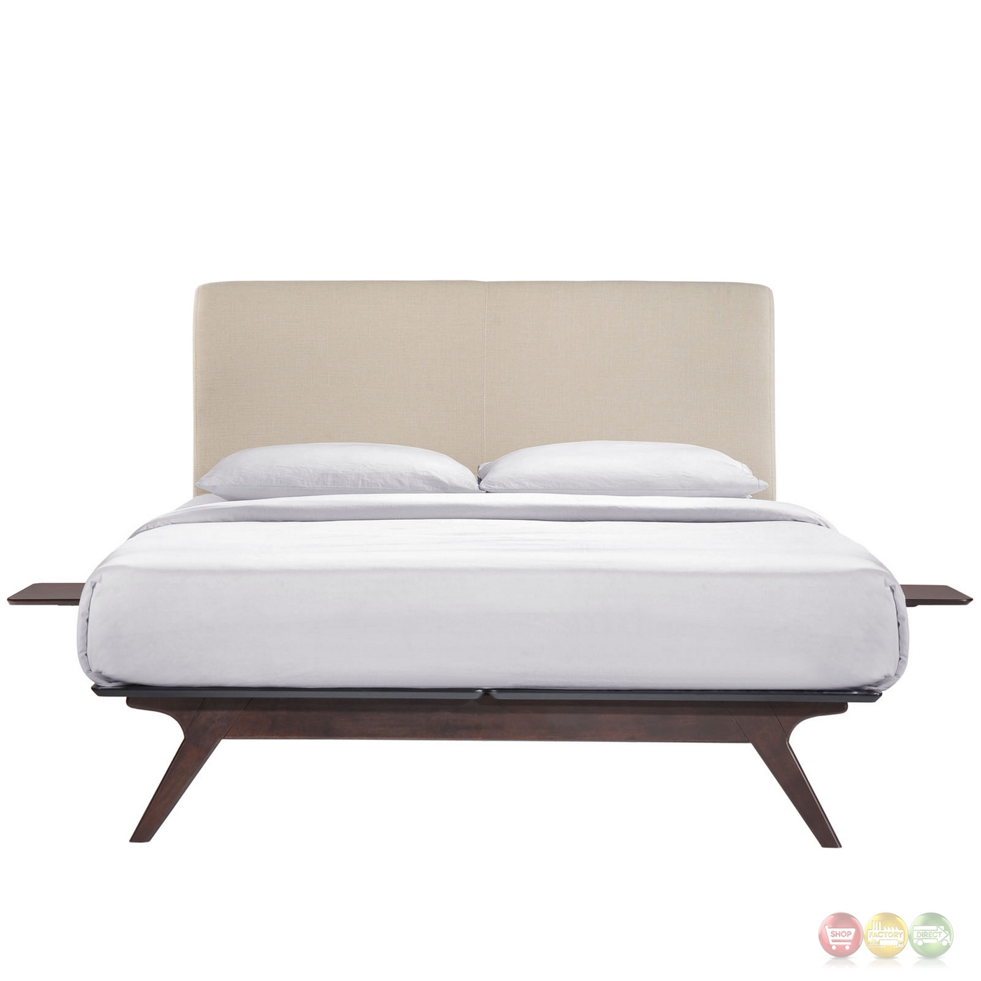 Tracy Mid Century Upholstered Twin Platform Bed With