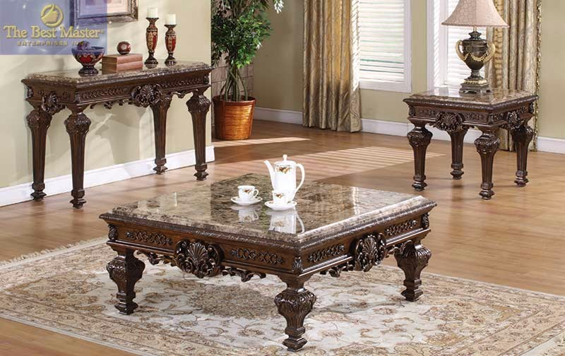 Traditional 3 piece coffee table end tables square marble tops ornate design Traditional coffee tables and end tables