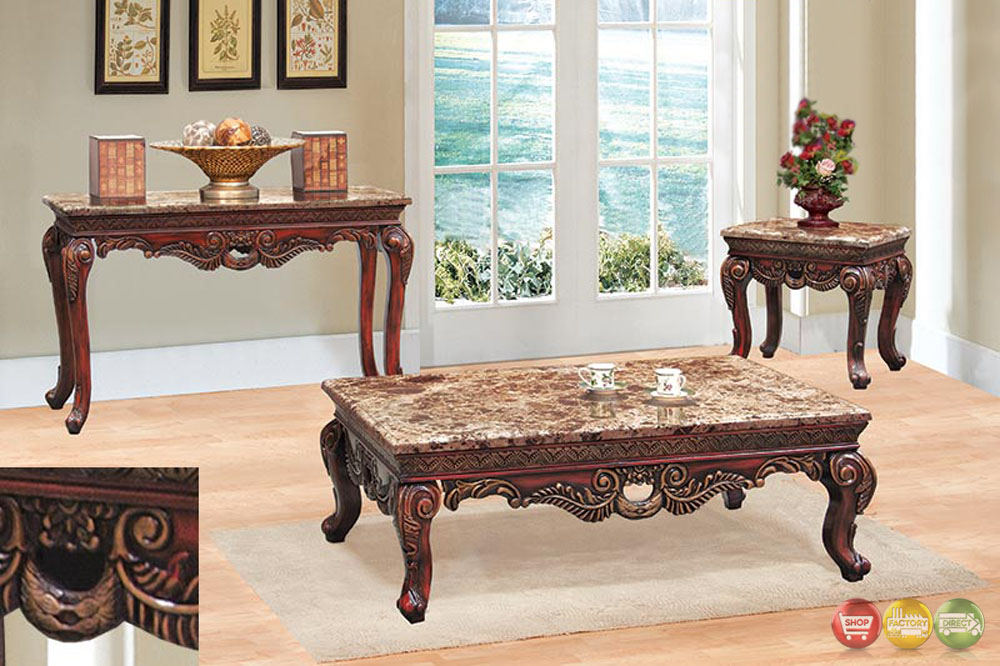 Traditional 3 piece living room coffee end table set w marble tops Living room coffee table sets