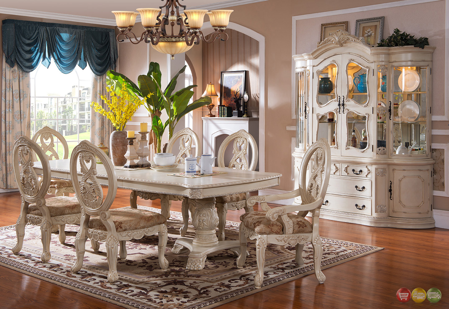 Traditional antique white formal dining room furniture set for Dining room sets under 500 00