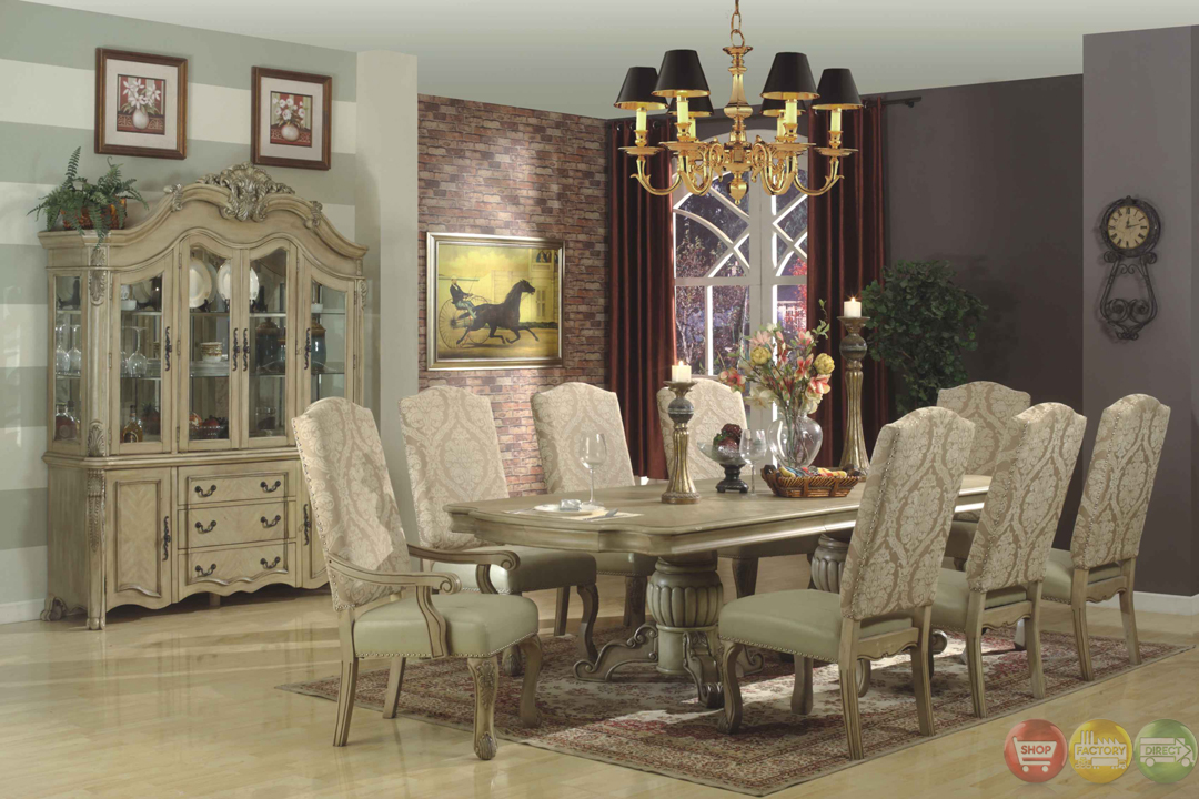 Traditional antique white formal dining room furniture set for Antique dining room sets