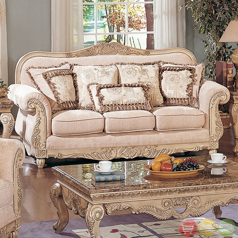 Traditional antique white formal sofa set with carved for Formal sofa sets