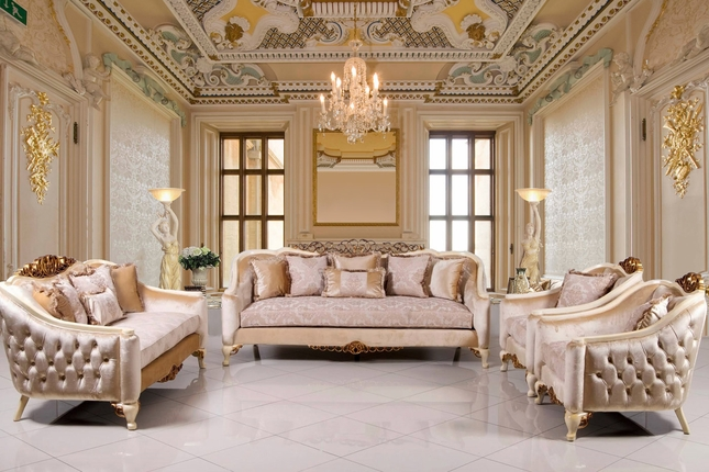 Traditional Formal Sofa Set with Carved Accents Antique White & Gold
