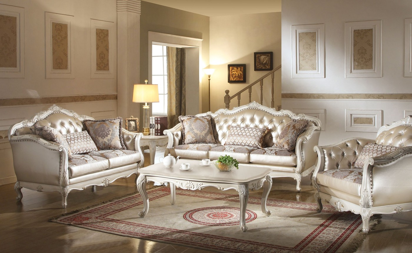 Chantelle traditional pearl white button tufted formal for Formal sofa sets