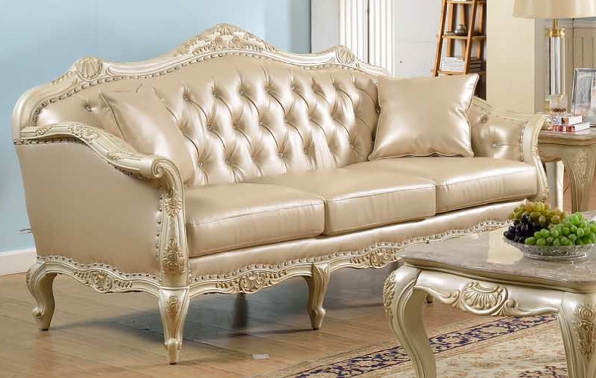 Traditional antique white formal sofa set with nail head for Formal sofa sets