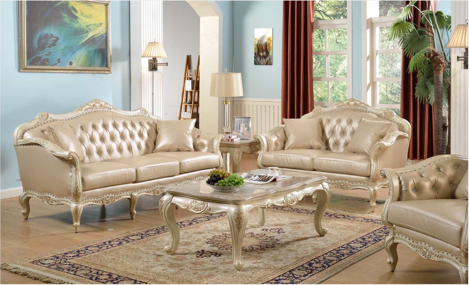 Traditional antique white formal sofa set w nail head for Formal living room furniture sets