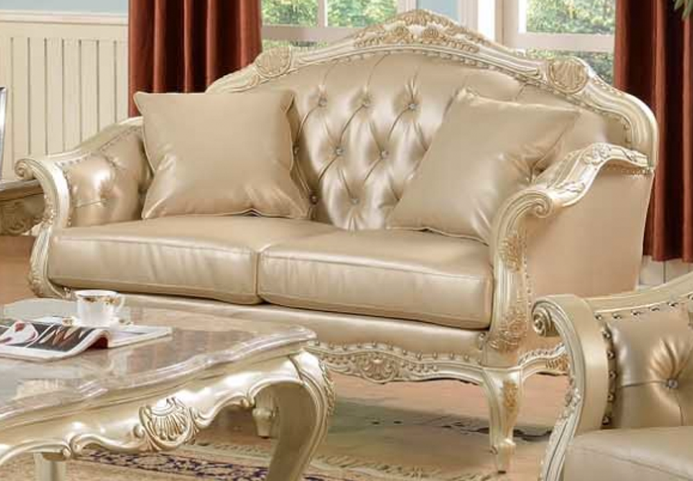 Traditional antique white formal sofa set w nail head for Formal sofa sets