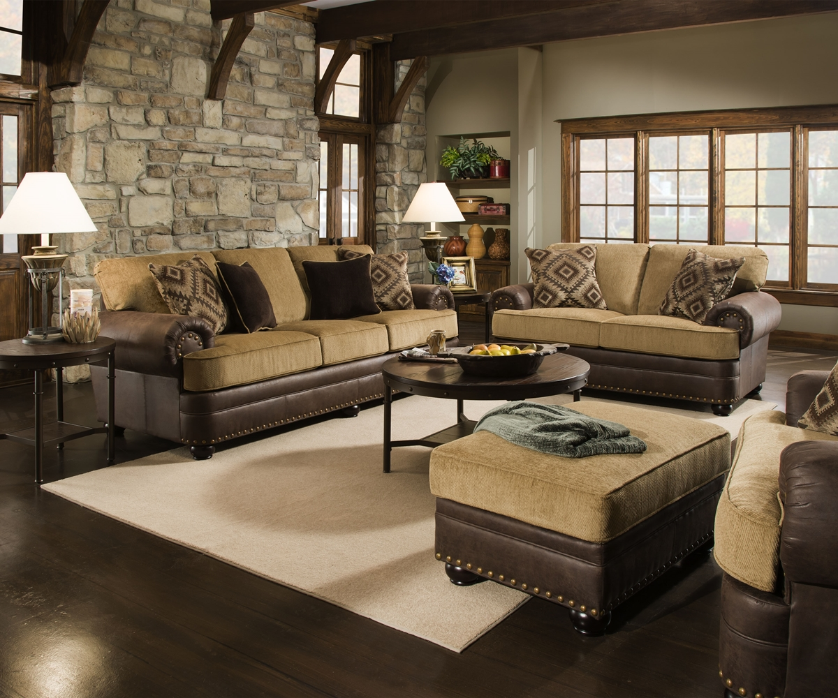 Traditional beige brown living room sofa set w rolled for Living room ideas tan sofa