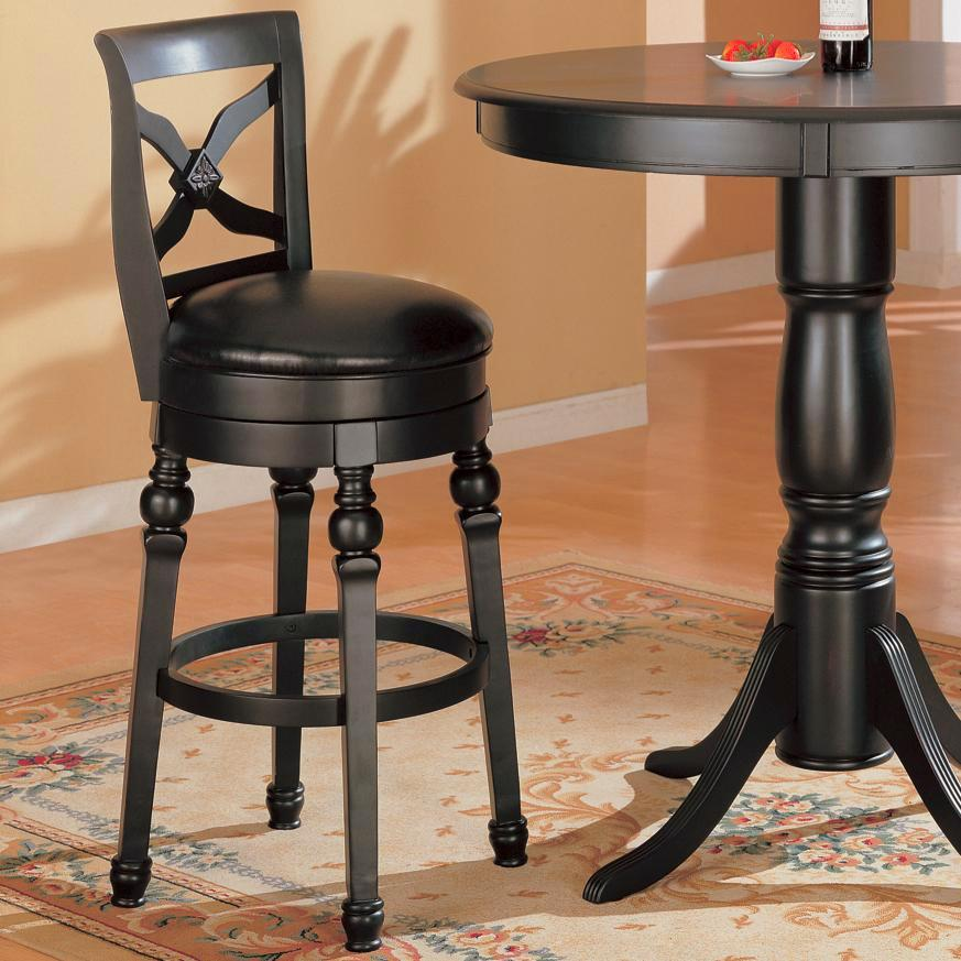 Traditional Black 29 Inch Turned Leg Swivel Bar Stool