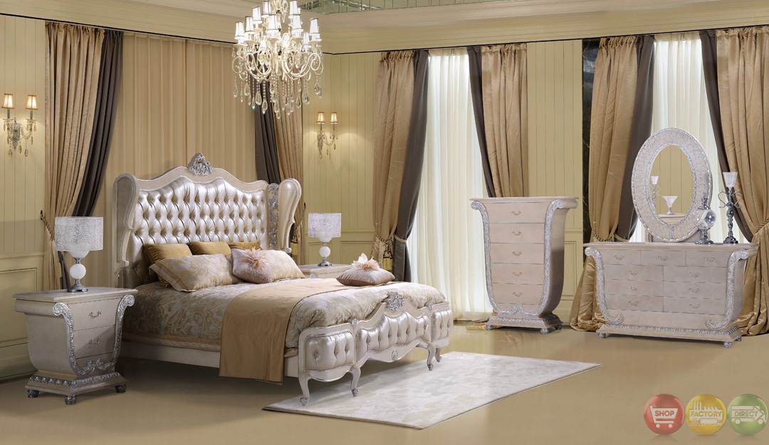 Traditional button tufted sweetheart queen size bedroom for Queen size bedroom furniture sets sale
