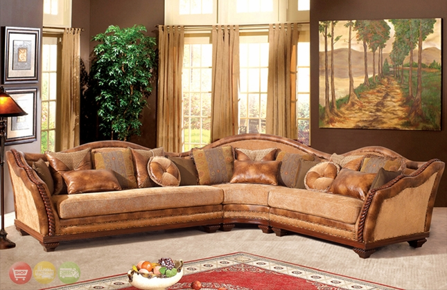 Traditional Camel Back Sectional Sofa W Loose Pillow Back