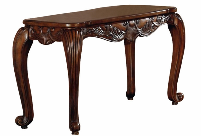 Traditional Carved Wood Console Sofa Table W Cabriole Legs