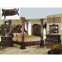 Traditional Cherry Poster Canopy Bed Leather & Marble Master 4pc Bedroom Set