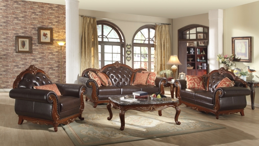 dark brown button tufted leather living room furniture w exposed wood