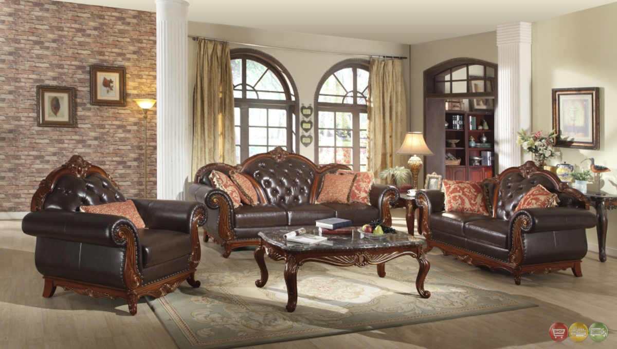 Traditional Dark Brown Button Tufted Leather Living Room Furniture W Exposed Wood