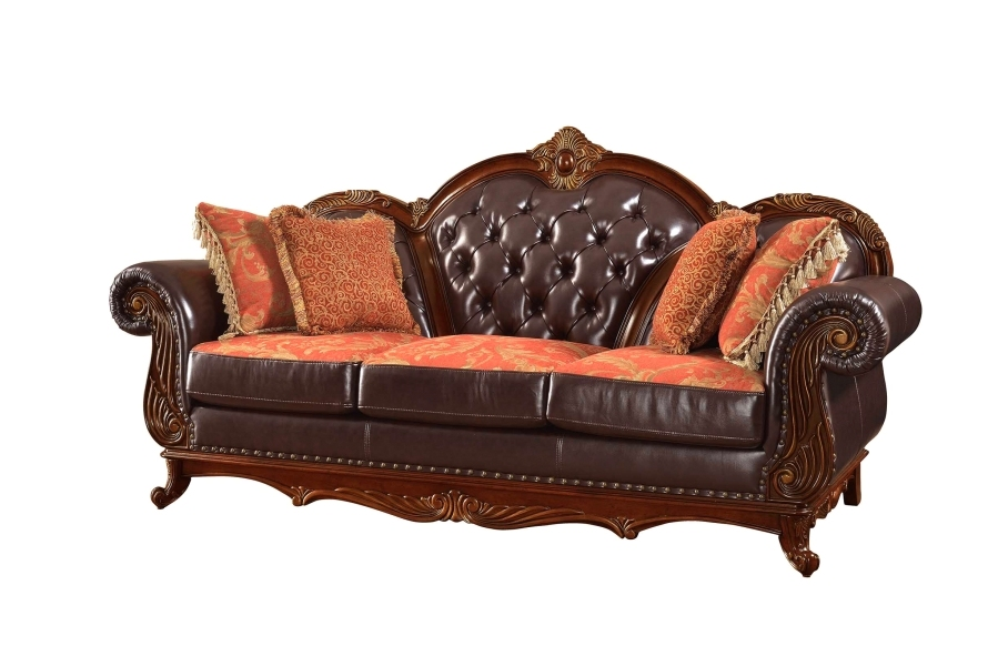 Traditional dark brown button tufted leather living room for Traditional tufted leather sofa