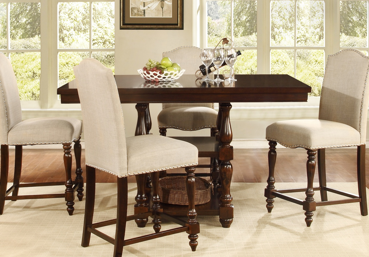 Dark Brown Wood Table Counter Height Dining Tables