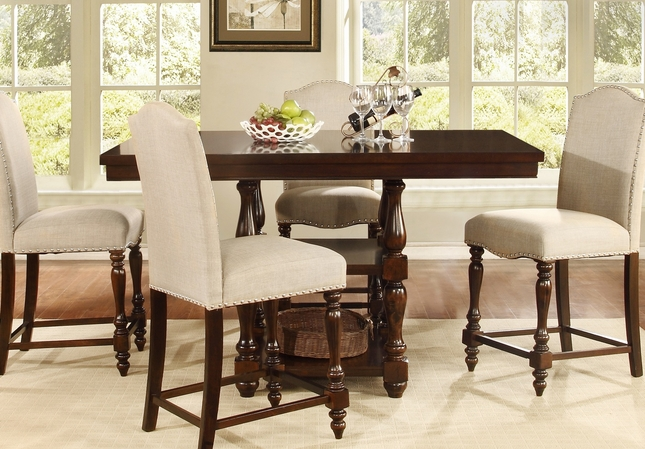 Traditional Edella Counter Height Dining Table With Dark Brown Finish