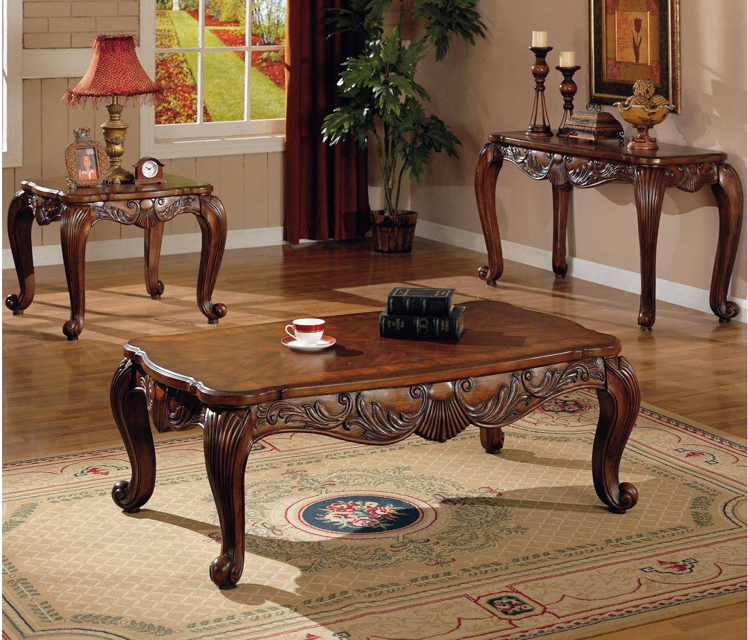 Traditional Elegant Wood Cocktail Coffee Table W/ Cabriole