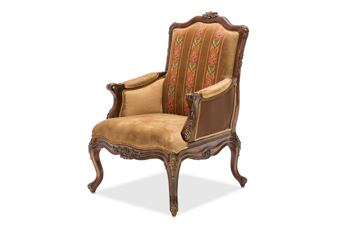 Sienna Victorial Accent Chair In Butterscotch With Carved