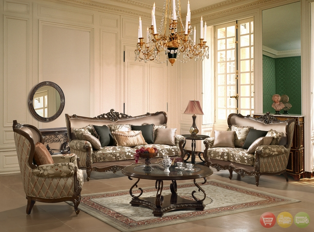 Traditional European Design Formal Living Room Sofa Set W/ Carved Wood  Accents)