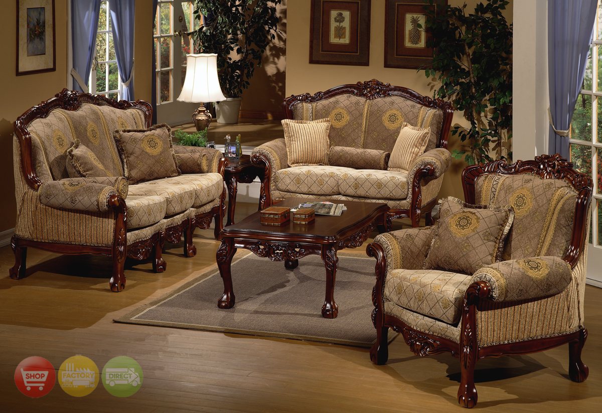 European design formal living room set w carved wood hd 94 for Traditional living room furniture