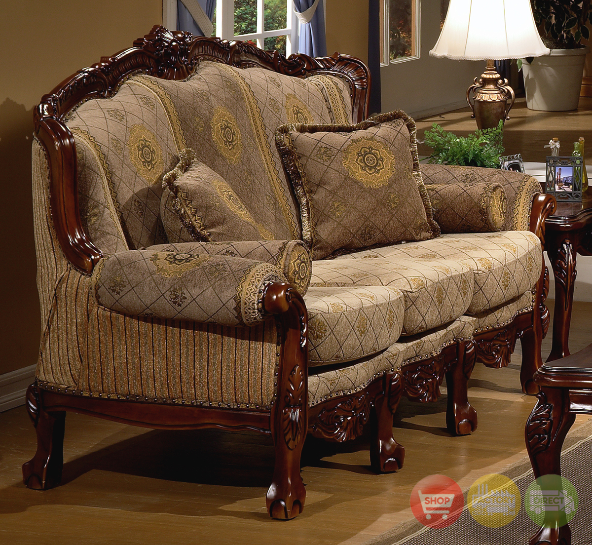 European Design Formal Living Room Set W/ Carved Wood HD-94