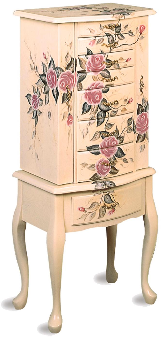 Traditional Floral Hand Painted Jewelry Armoire