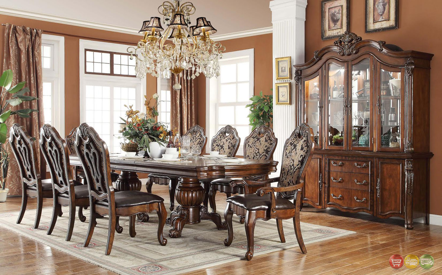 Opulent traditional style formal dining room furniture set for Pictures of formal dining rooms
