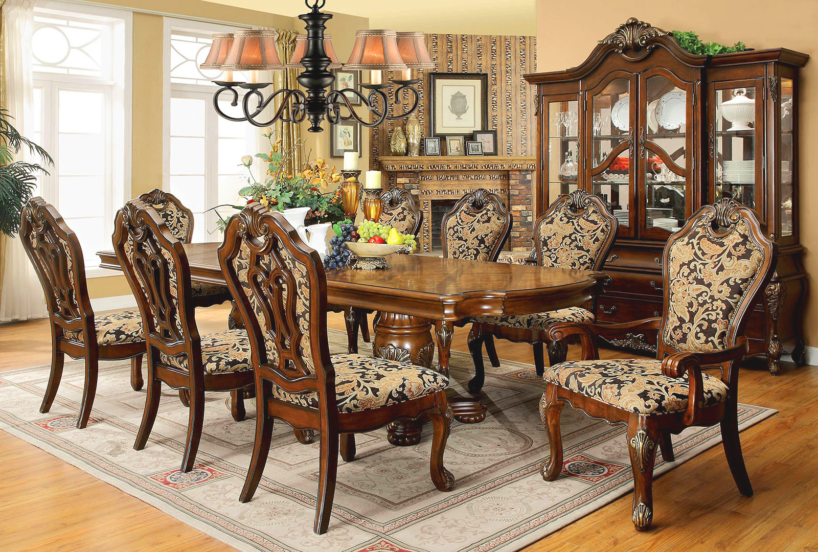 Opulent traditional style formal dining room furniture set for Pictures of dining room sets