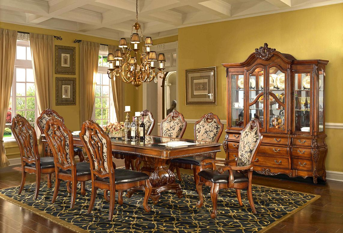 Traditional formal dining room set homey design free for Traditional dining room art