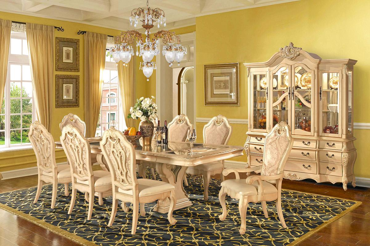 Beige formal dining room set homey design free shipping for Formal dining room sets