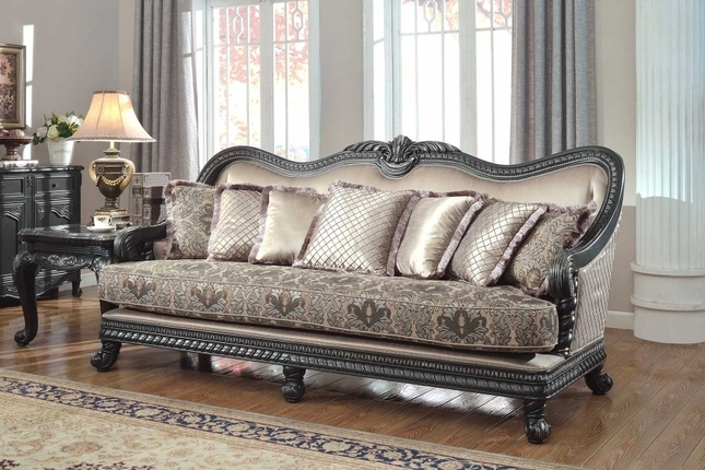 Traditional Formal Living Room Furniture Sofa Dark Wood Frame Couch