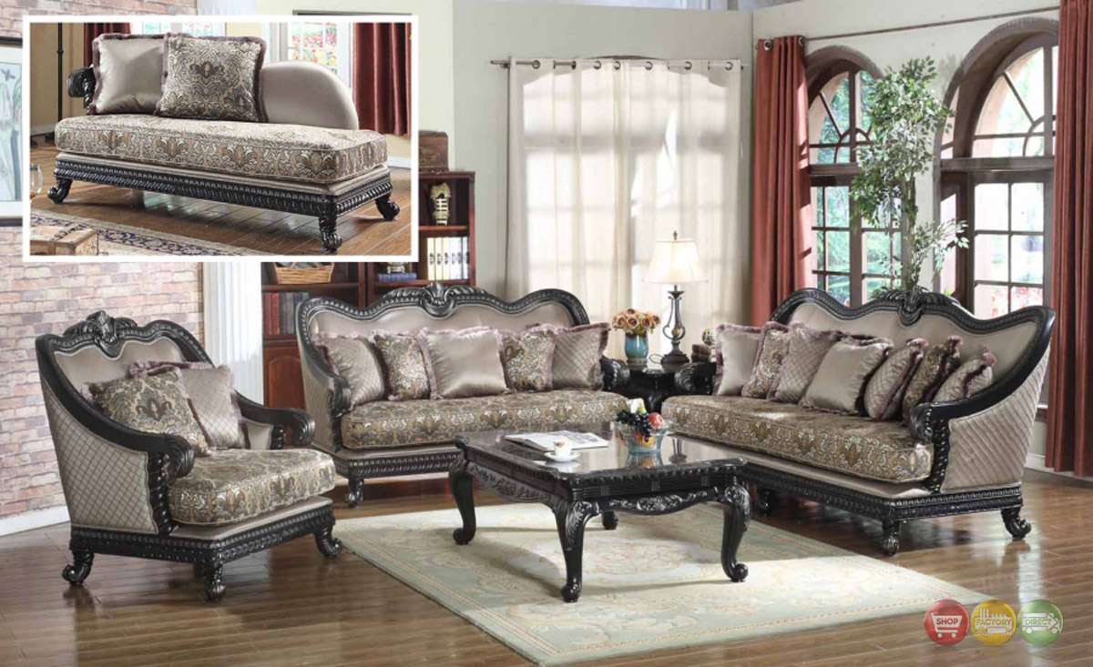 Traditional formal living room furniture sofa dark wood for Wooden living room furniture