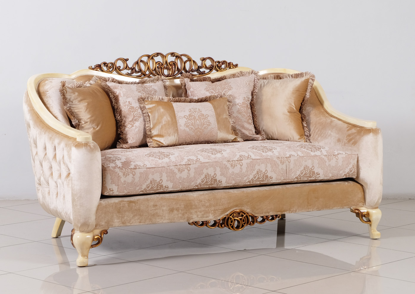 Traditional Formal Sofa Set With Carved Accents Antique
