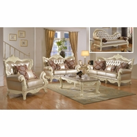 Traditional Living Room Set W/Pearl Bonded Leather And Antique White Carved  Wood Part 58