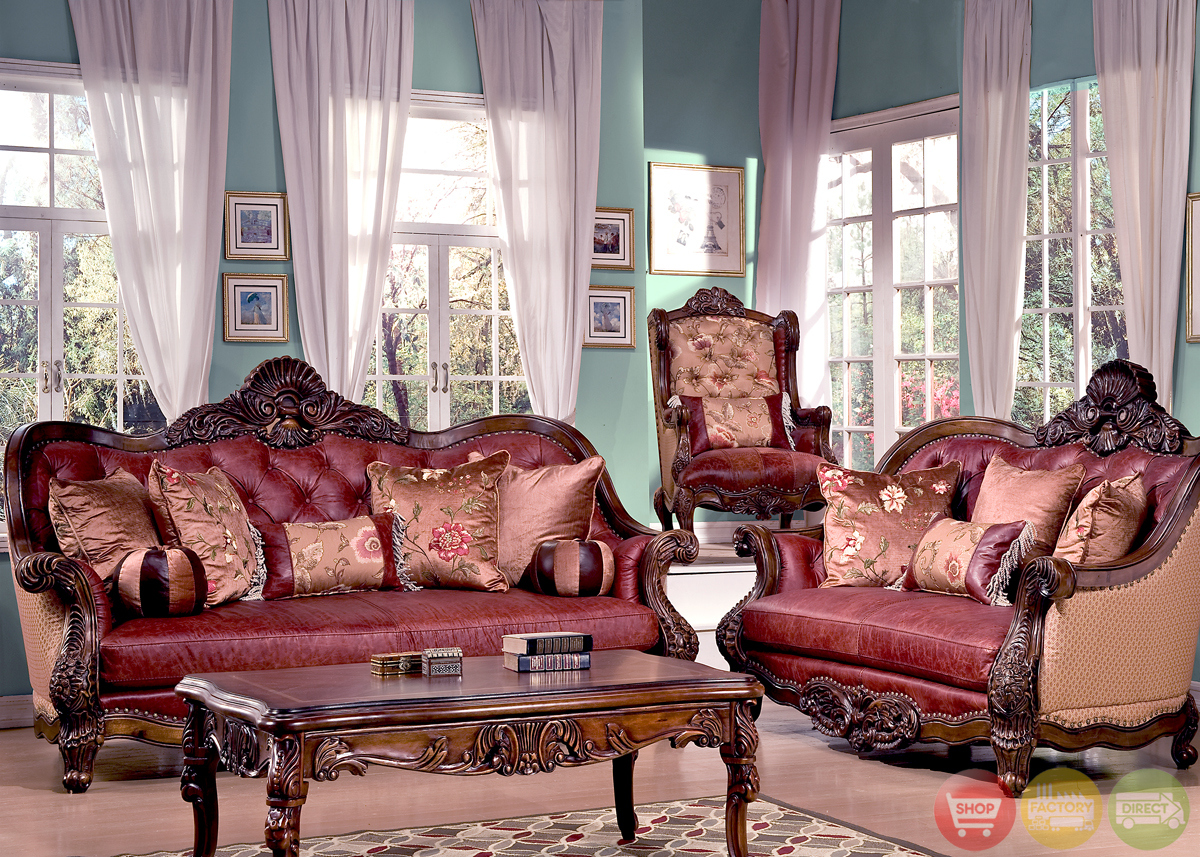 traditional luxury leather formal living room sofa set hd3311