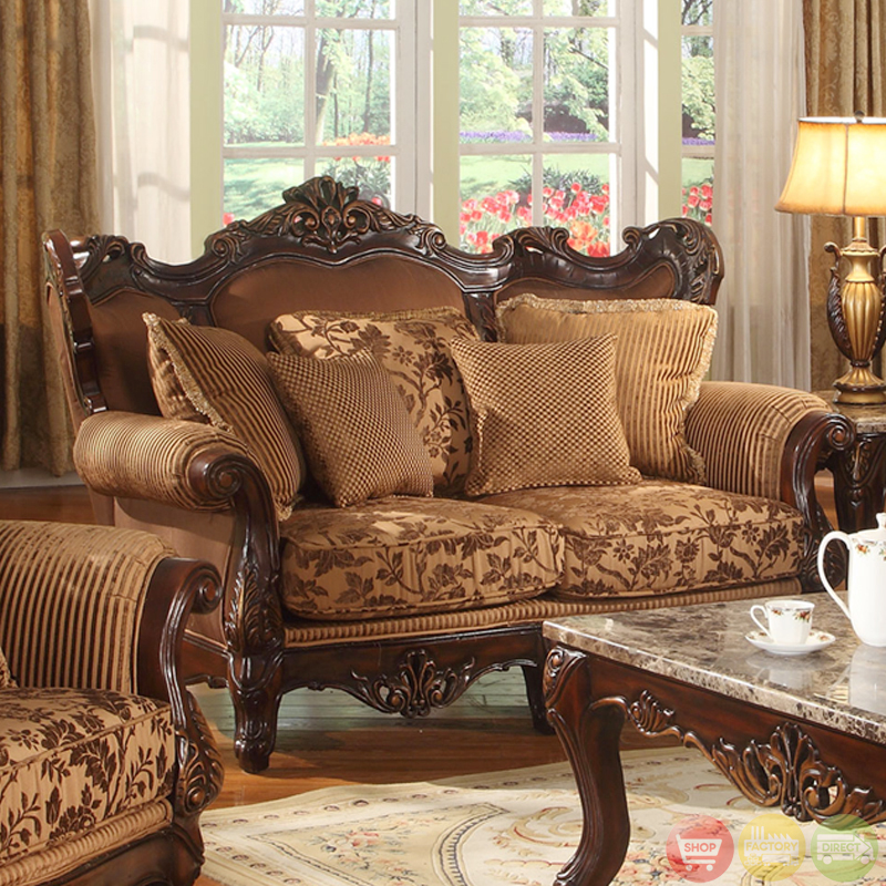 Traditional medium cherry formal sofa set with carved for Formal sofa sets