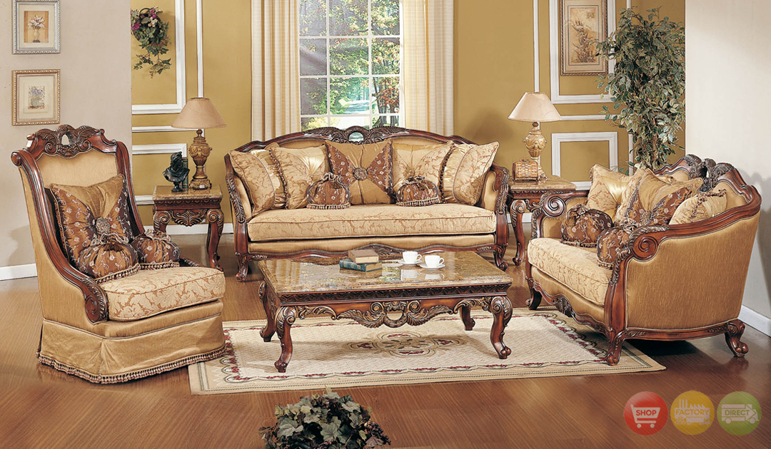 Traditional formal living room sofa set medium cherry for Wooden chairs for living room