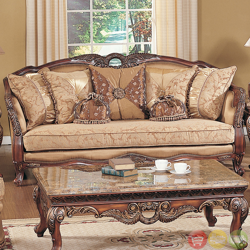 Traditional Living Room Furniture Sectionals: Traditional Formal Living Room Sofa Set Medium Cherry