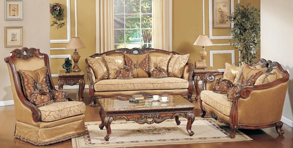 Traditional formal living room sofa set medium cherry carved wood accents for Traditional sofa sets living room