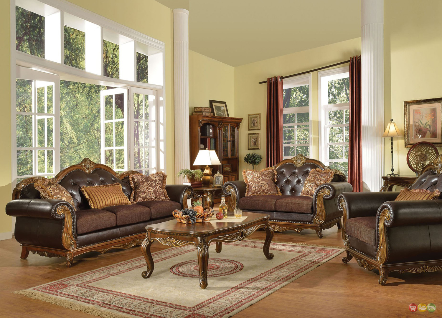 Dorothea traditional formal living room sofa set w wood - Traditional sofa sets living room ...