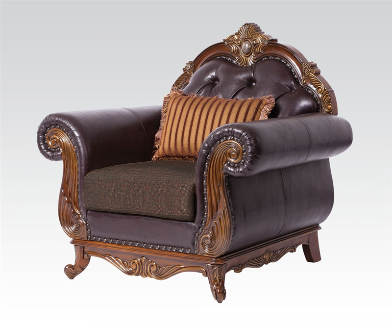 Dorothea traditional formal living room sofa set w wood for Traditional tufted leather sofa
