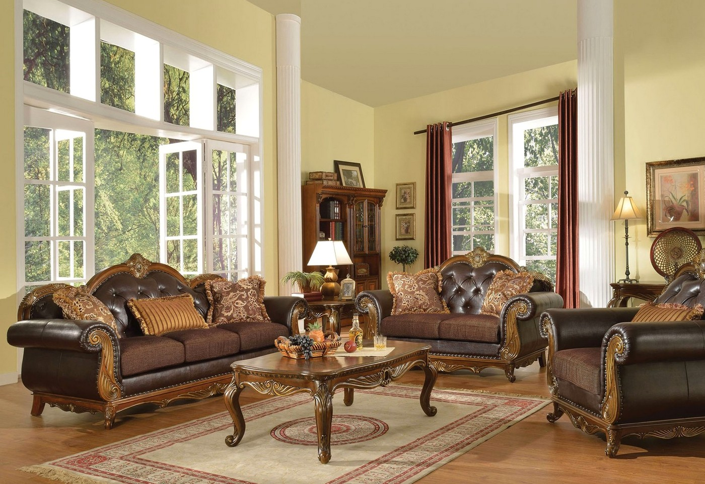 formal sofas for living room dorothea traditional formal living room sofa set w wood 19712