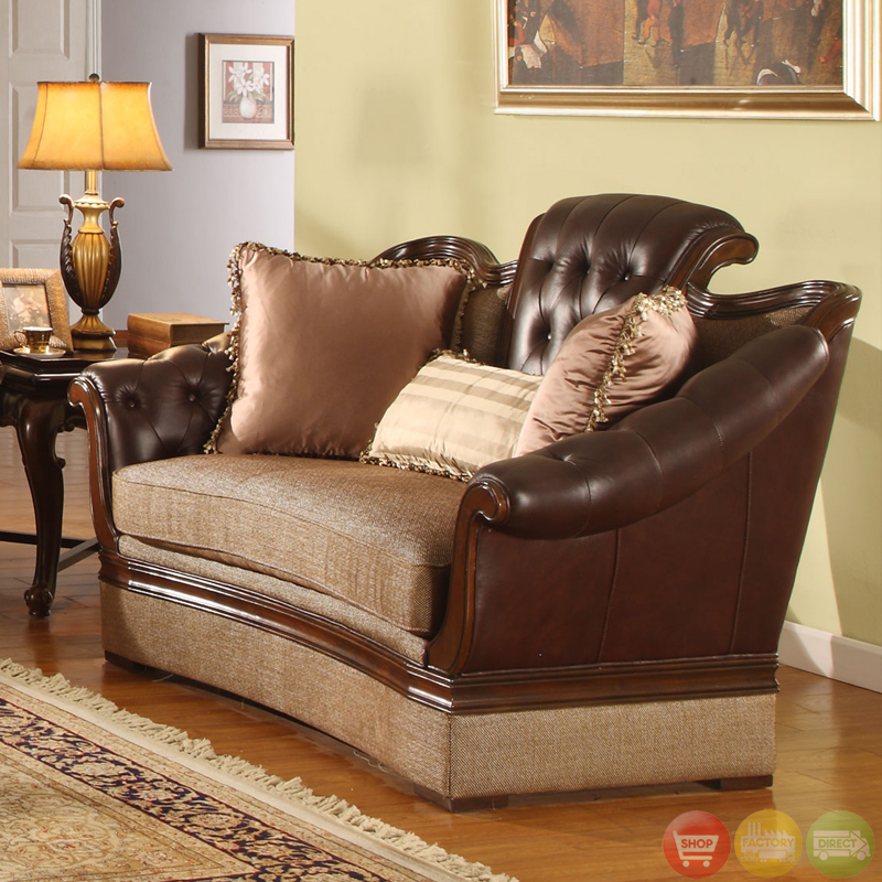 Traditional medium cherry formal sofa set with tufted for Formal sofa sets
