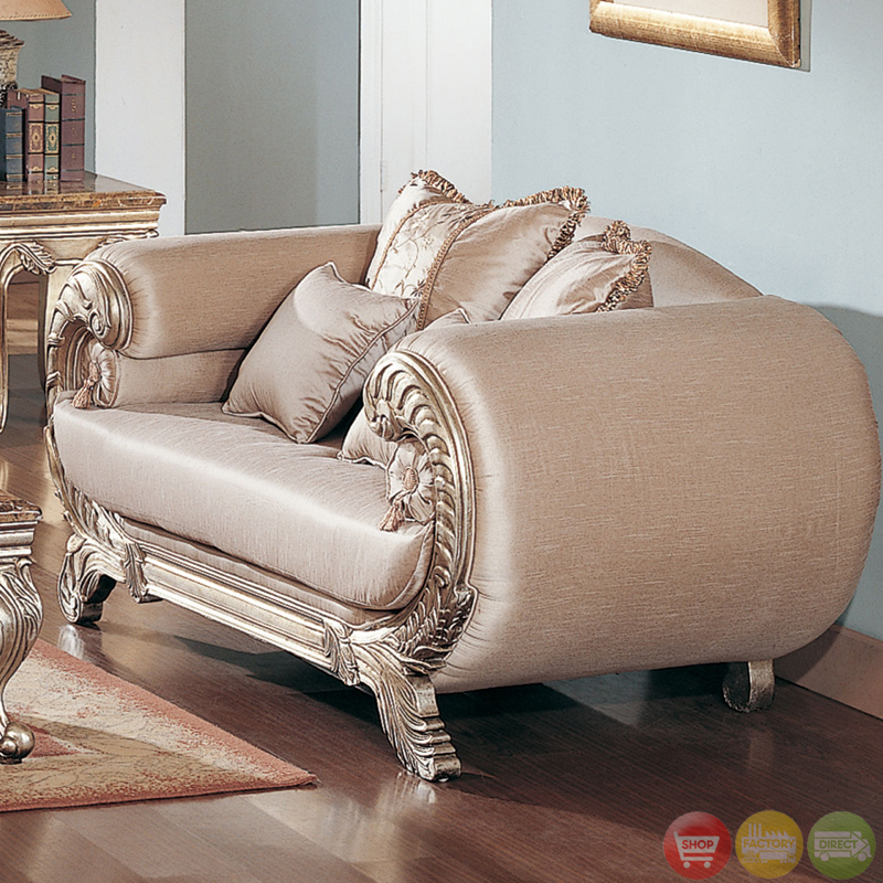 Traditional metallic finish formal sofa set with camel for Formal sofa sets